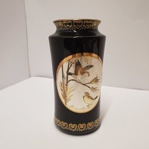 "Vintage japanese Chokin bird vase 6"""